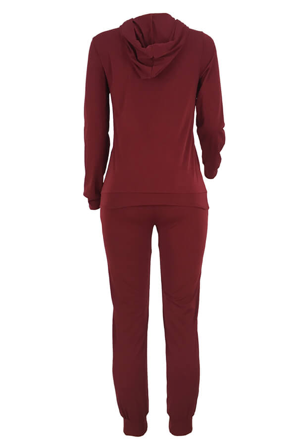 Lovely Casual Hooded Collar Broken Holes Wine Red Blending Two-piece Pants Set