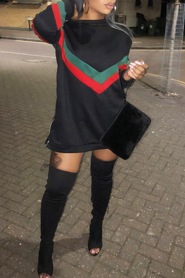 Lovely Causal Patchwork Black Mini Dress