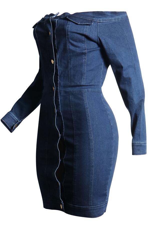 Lovely Euramerican Dew Shoulder Buttons Design Blue Denim Mini Dress