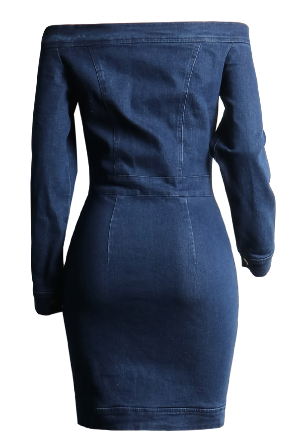 Lovely Euramerican Dew Shoulder Buttons Design Blue Denim Mini Dress