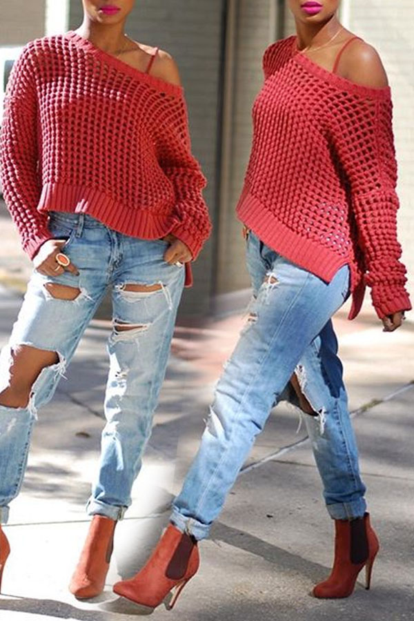 Lovely  Casual Dew Shoulder Hollowed-out Bright Red Sweaters