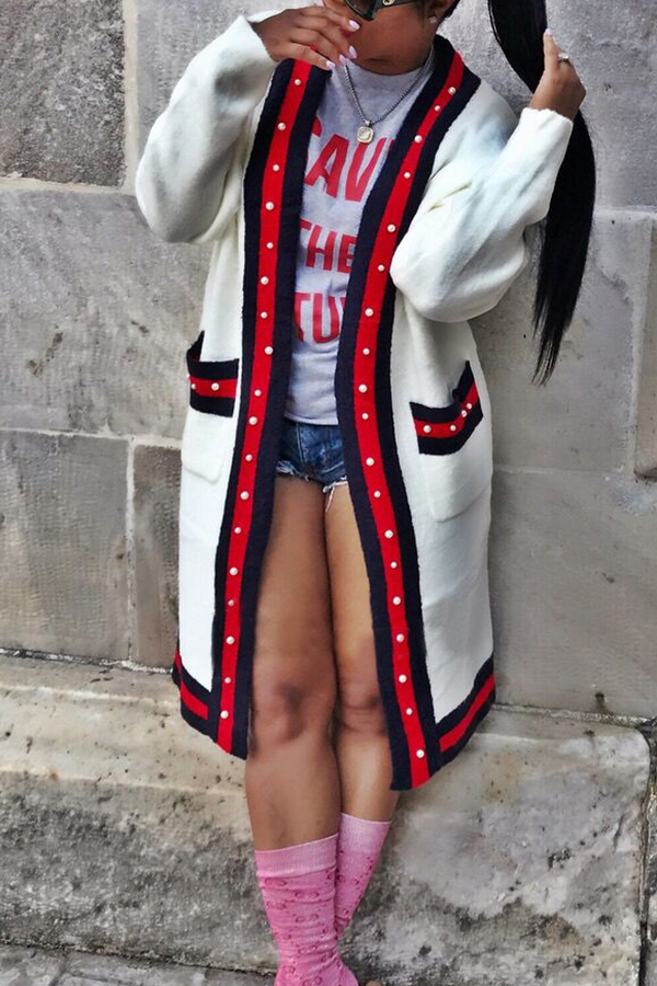 Lovely Casual Patchwork Long White Cotton Blends Coat