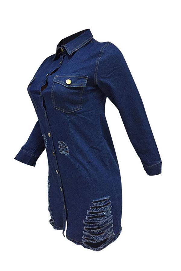 Lovely Euramerican Broken Holes Deep Blue Denim Mini Dress