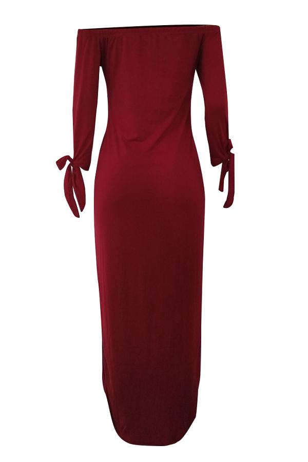 Lovely Euramerican Dew Shoulder Letters Printed Wine Red Ankle Length Dress