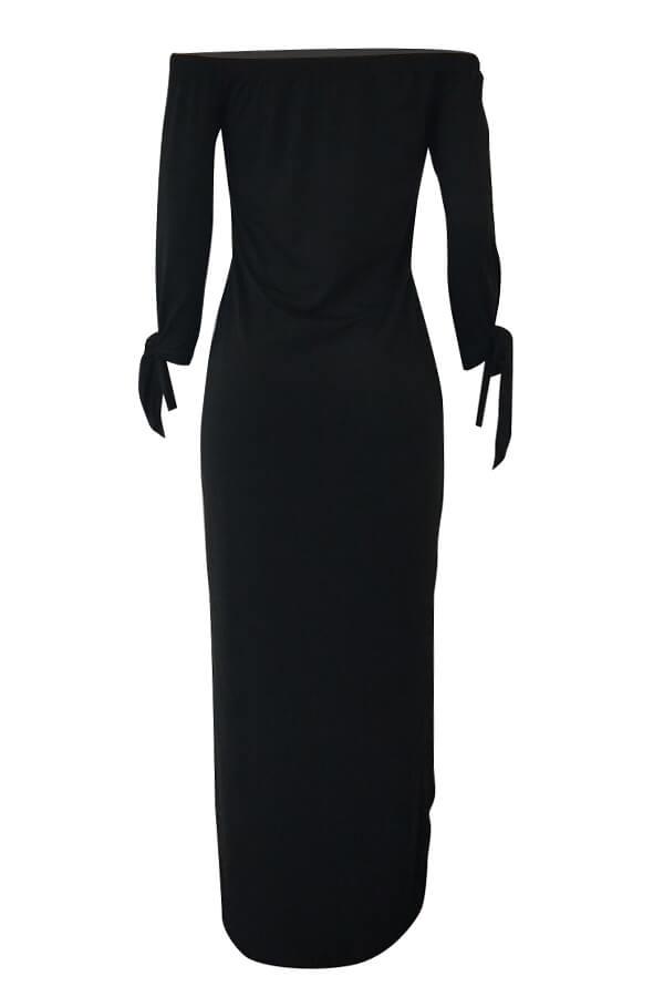 Lovely Dew Shoulder Letters Printed Black Ankle Length Dress