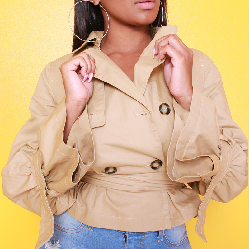 Lovely Casual Buttons Design Lace-up Khaki Cotton Coat