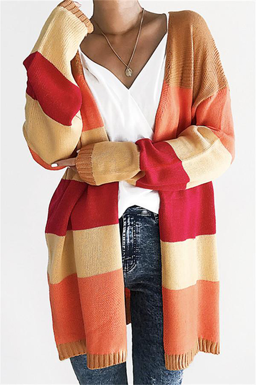 Lovely Casual Patchwork Long Orange Acrylic Cardigan Sweaters