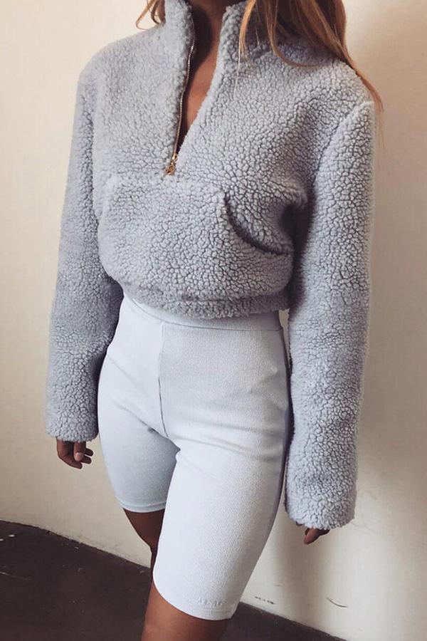 Lovely  Casual Long Sleeves Pocket Grey Hoodies
