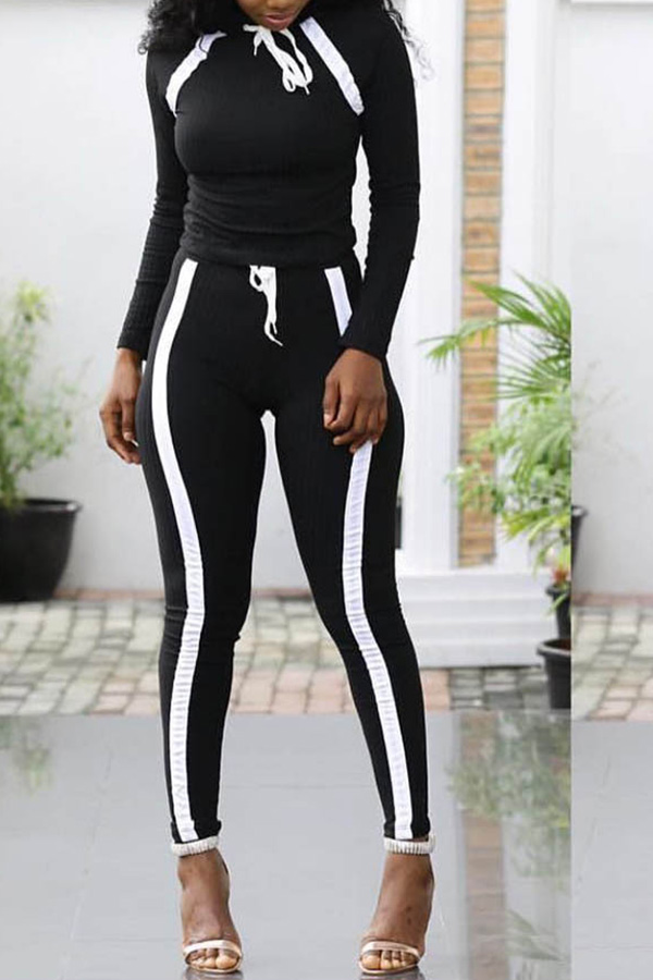 Lovely Sportswear Striped Black Two-piece Pants Set