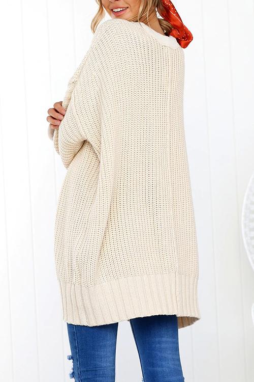 Lovely Euramerican Loose Long Beige Sweaters