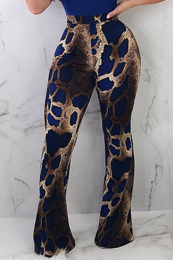 Lovely Euramerican Snakeskin Grain Blue Knitting Pants
