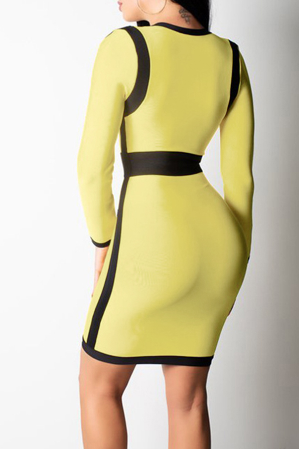 Lovely  Sexy Patchwork Slim Yellow  Mini  Dress
