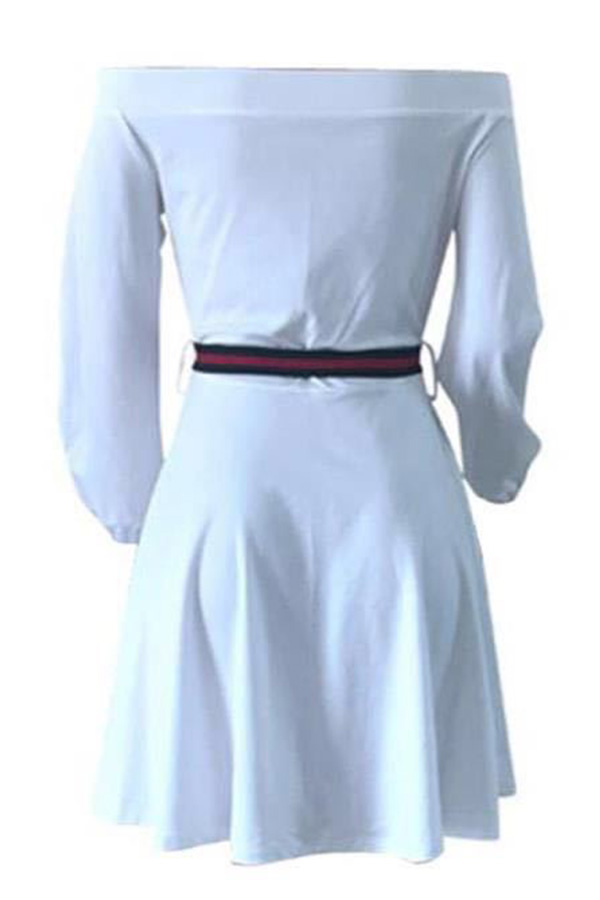 Lovely Casual Dew Shoulder Lace-up White Cotton Blends Mini Dress(With Belt)