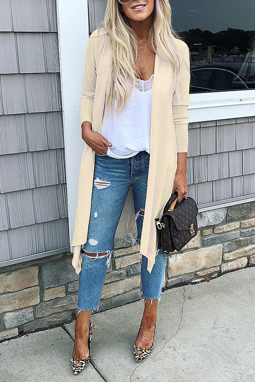 Lovely Casual Side Slit Long Yellowish Rice Cardigan Sweaters