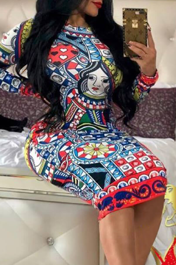 Lovely Trendy Poker Printed Multicolor Knee Length Dress