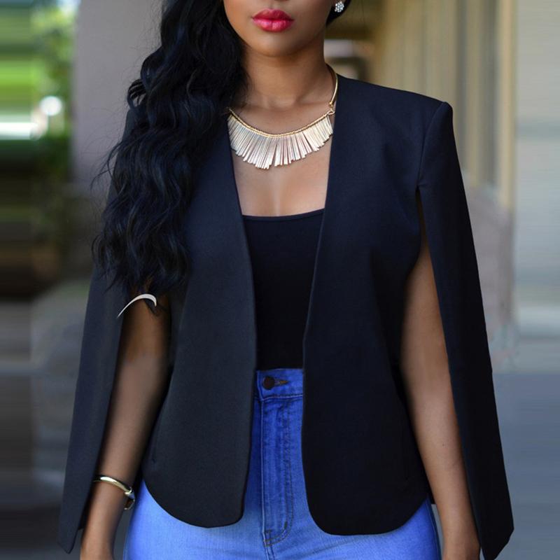 Lovely Temperament Cape Design Black Blazer