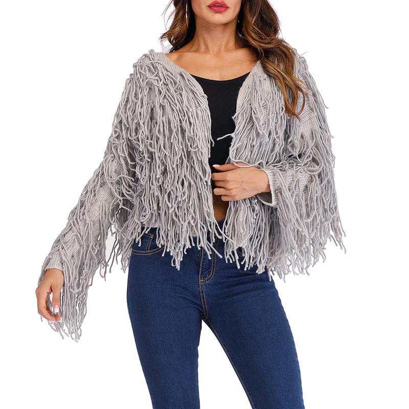 Lovely Casual Tassel Design Short Grey Cotton Blends Coat