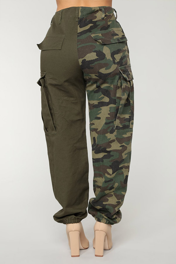 Lovely Euramerican Camouflage Printed Patchwork Army Green Pants