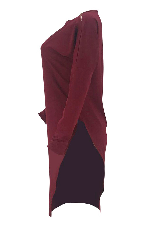 Lovely Casual Asymmetrical Wine Red Blending T-shirt