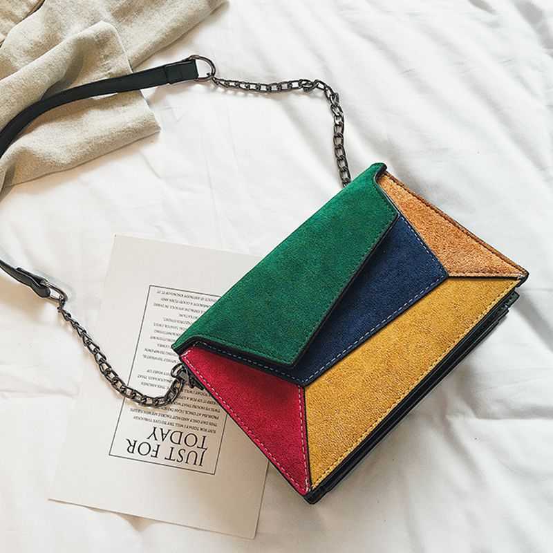 Lovely Euramerican Patchwork Green Patent Leather Messenger