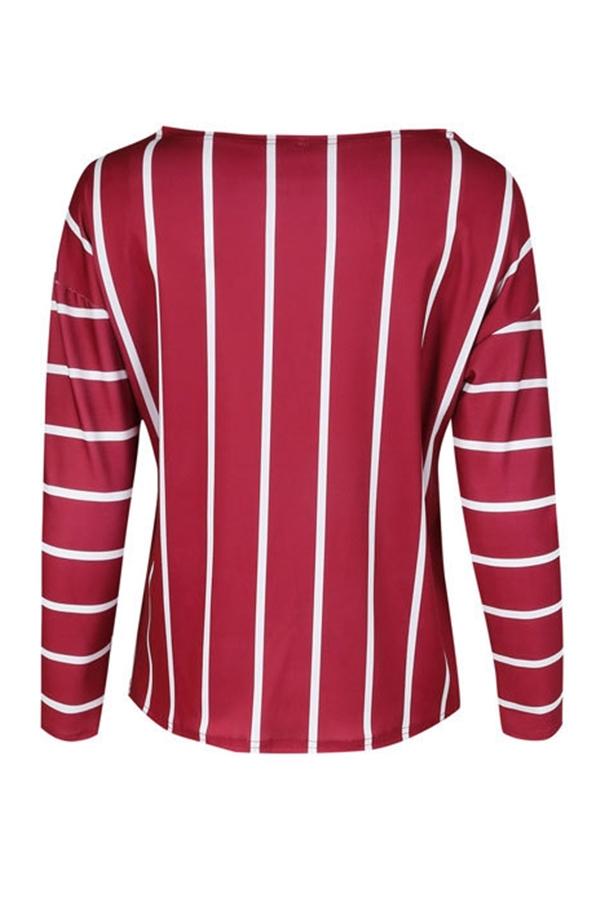 Lovely Trendy Striped Wine Red Knitting Blouses