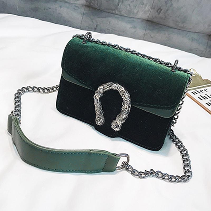 Lovely Retro Patchwork Green Velvet Messenger