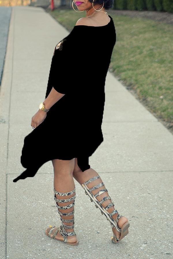 Lovely Euramerican Asymmetrical Printed Black Mid Calf Dress