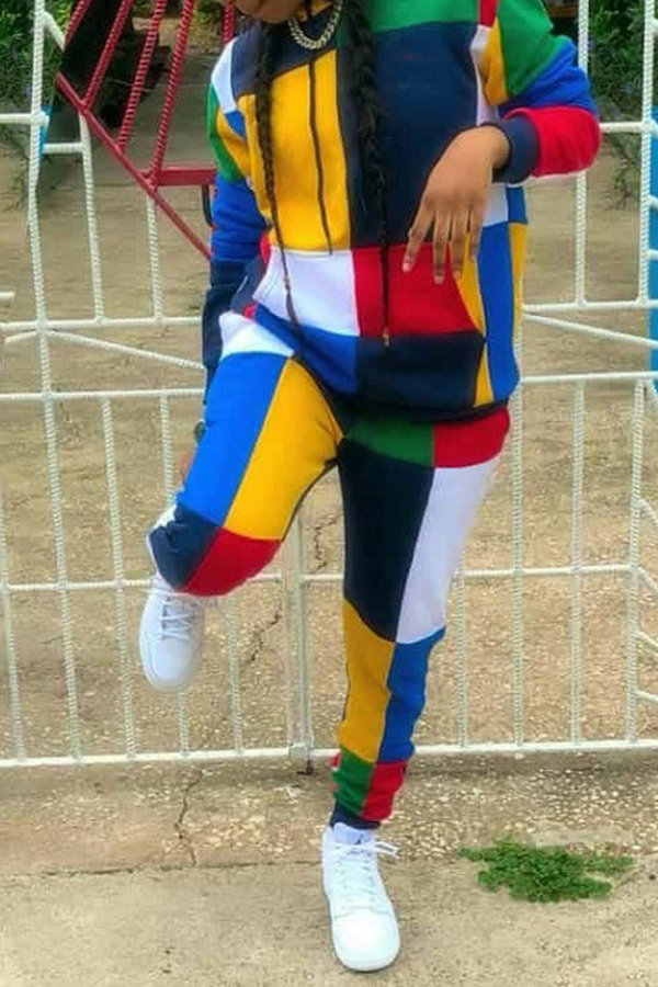 Lovely  Sexy Patchwork Multicolor Twilled Satin Two-piece Pants Set