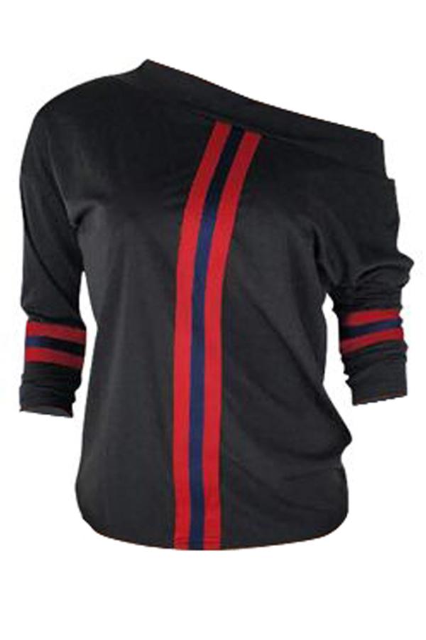 Lovely Casual Dew Shoulder Patchwork Black Blending Sweaters