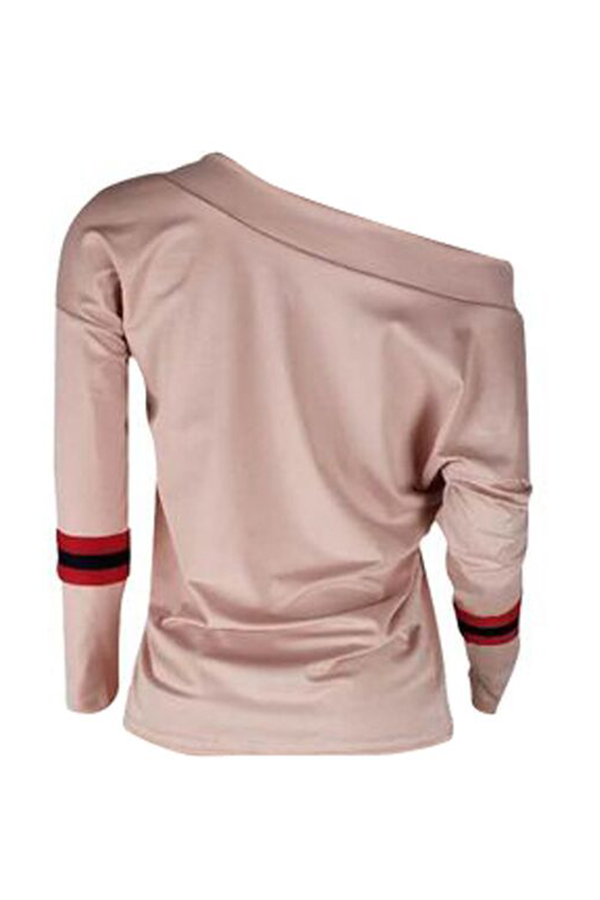 Lovely Casual Dew Shoulder Patchwork Khaki Blending Sweaters