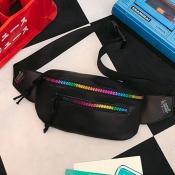 Lovely Fashion Zipper Design Black Patent Leather