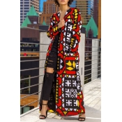 Lovely Casual Geometric Printed X-long Multicolor