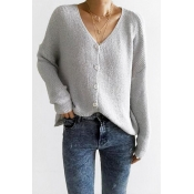Lovely  Casual Buttons Design Grey Knitting Cardig
