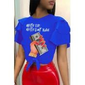 Lovely Euramerican Printed Blue T-shirt