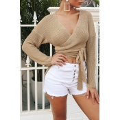 Lovely Fashion Asymmetrical Khaki Short Blending S