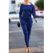 Lovely Trendy Pockets Royal Blue Blending Two-piece Pants Set