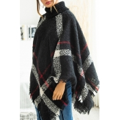 Lovely Trendy Cloak Design Torn Edges Black Sweate