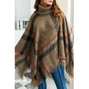 Lovely Trendy Cloak Design Torn Edges Brown Sweate