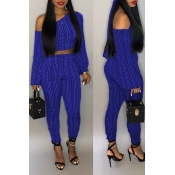Lovely Casual Dew Shoulder Printed Blue Twilled Satin Two-piece Pants Set