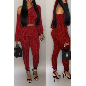 Lovely Casual Dew Shoulder Printed Red Twilled Satin Two-piece Pants Set