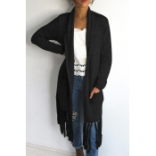 Lovely Casual Tassel Design Long Black Cotton Coat