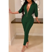 Lovely Casual Zippers Design Skinny Blackish Green Twilled Satin One-piece Jumpsuit