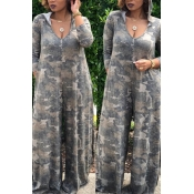 Lovely Fashion Loose Camouflage Printed One-piece Jumpsuit