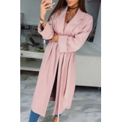 Lovely Casual Lace-up Long Pink Trench Coats