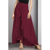 Lovely Trendy Flounce Design Lace-up Wine Red Cott