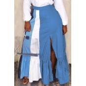 Lovely Casual Patchwork Blue Ankle Length Skirts