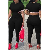 Lovely Casual Hollowed-out Black Blending One-piece Jumpsuit