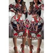 Lovely Trendy Poker Printed Brown Knee Length Dres