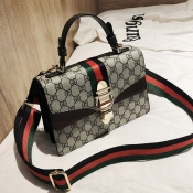 Lovely Euramerican Printed Coffee Patent Leather Messenger