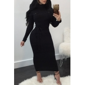 Lovely Sexy Long Sleeves Slim Black Knitting Ankle